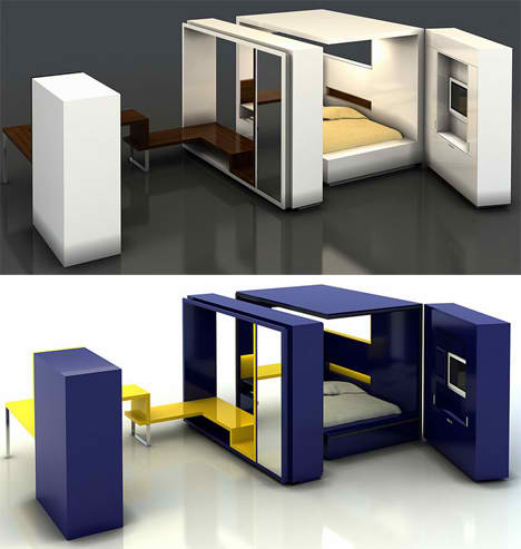 Fold out room 12 ultra compact living pods systems for Portable bed ideas