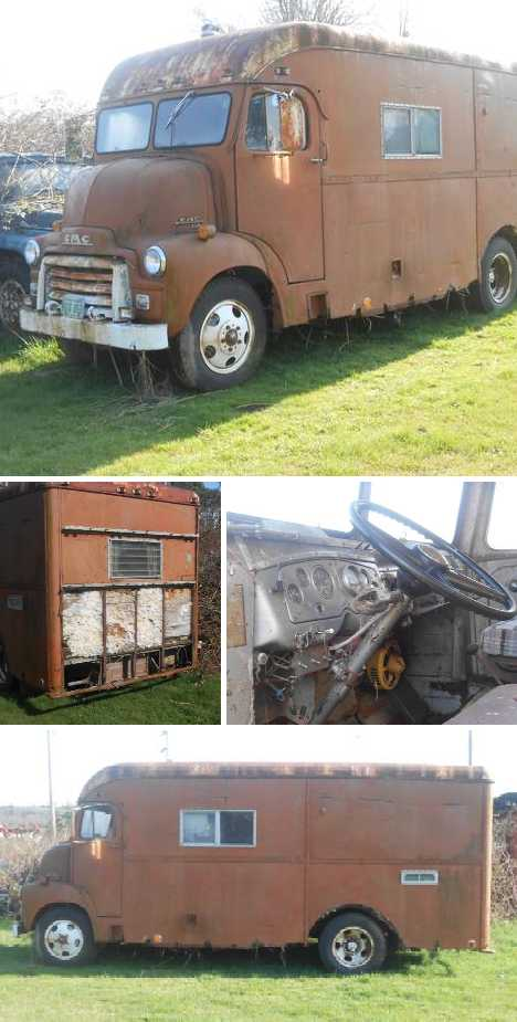 1953 abandoned bookmobile RV conversion