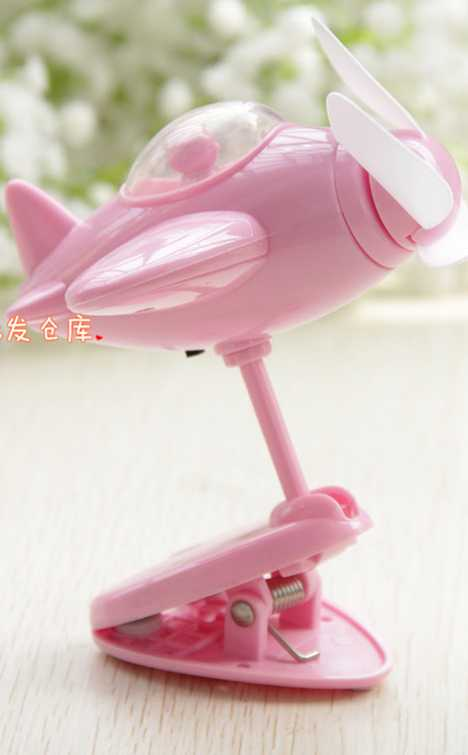 Chinese pink USB airplane clip-on desk fan