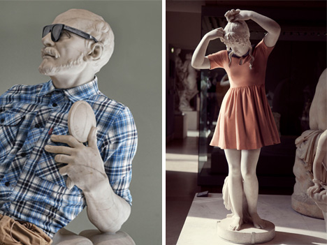 greek statues dressed as hipsters