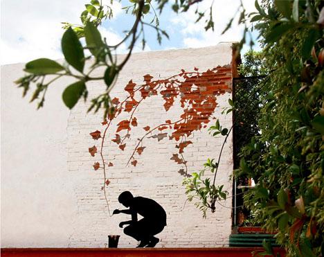 subtractive white brick mural