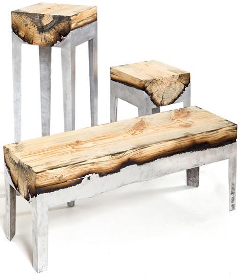 Upcycled Aluminum Half Logs