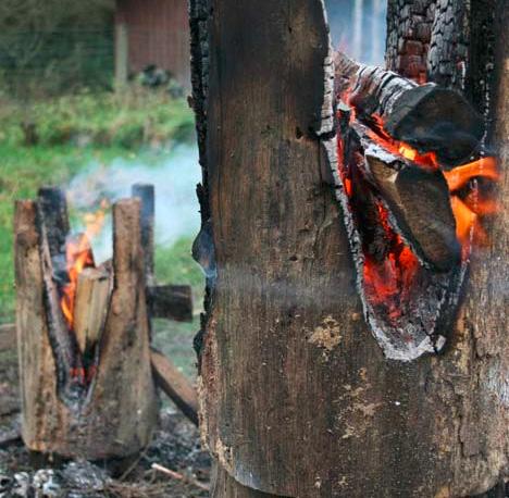 upcycled burned log stools