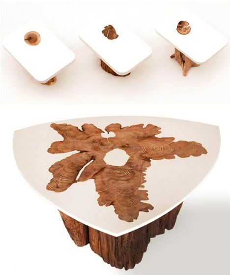 upcycled log table tops