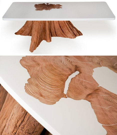upcycled resin log tables