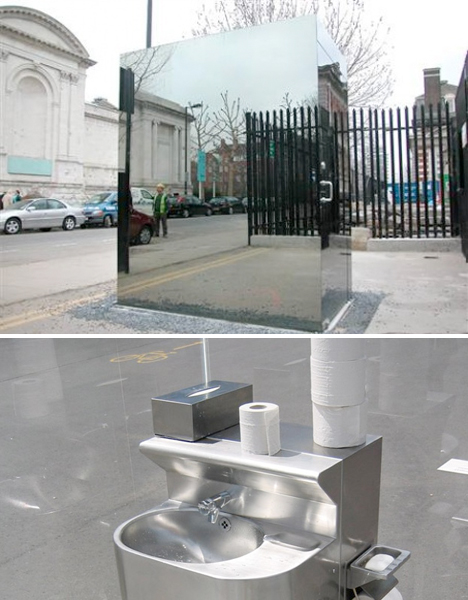 Amazing Public Toilets Mirrored Cube