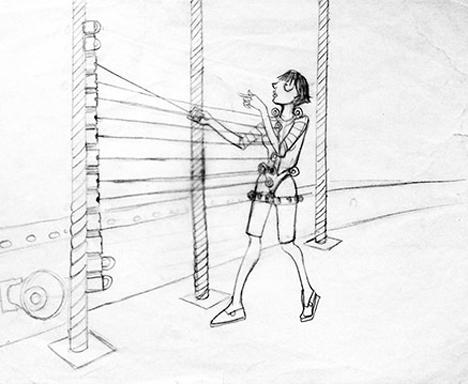 Human Harp Suspension Bridge Installation 3