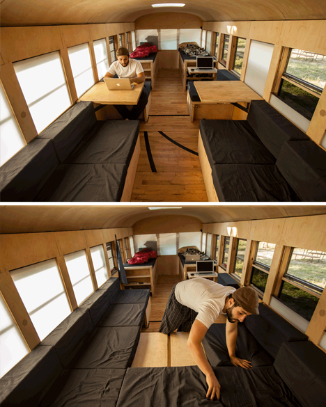bus adjustable seating area