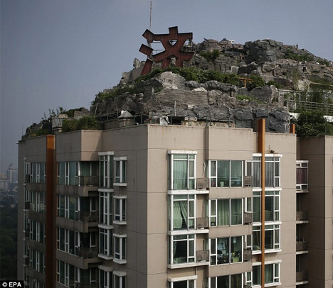 mountain on condo tower