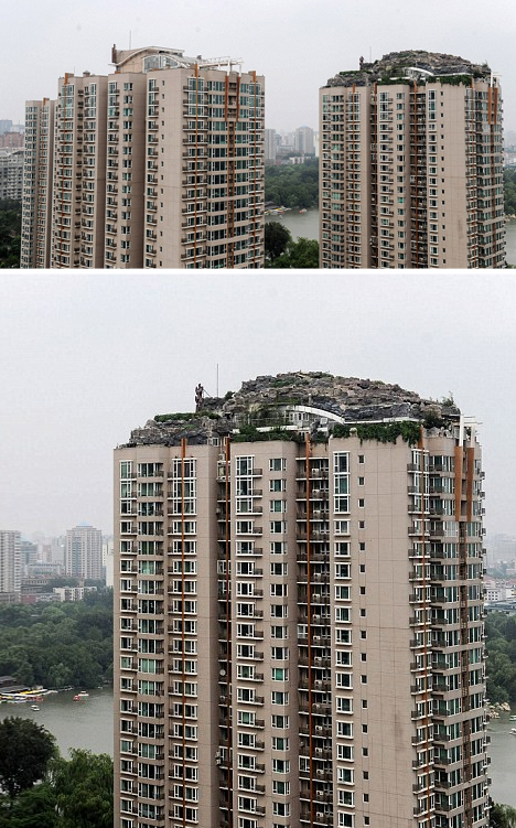 mountain shaped carved apartment