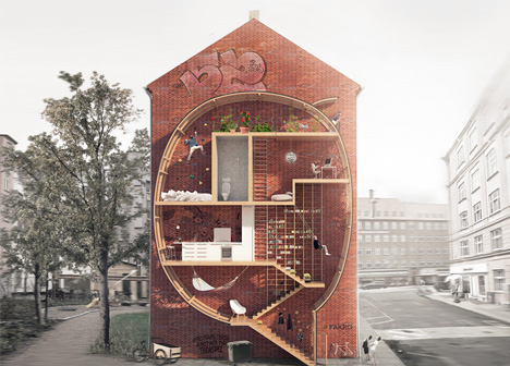 Live between buildings narrow micro homes fill city gaps for Microhouse cost