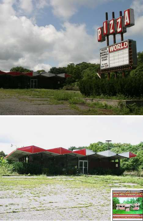 abandoned Pizza World luncheonette