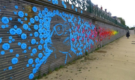 street art origami mural