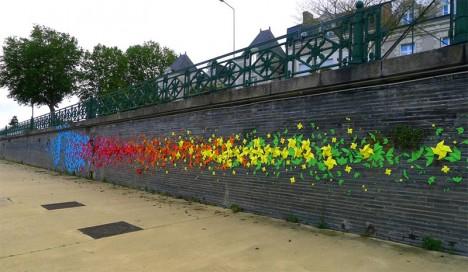 street rainbow wall mural