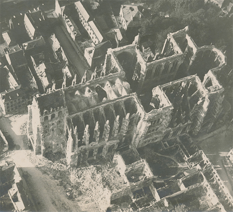 Destroyed Cathedral France WWI 1