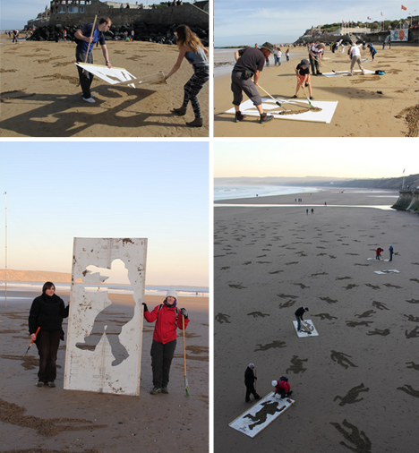 fallen beach stencil volunteers