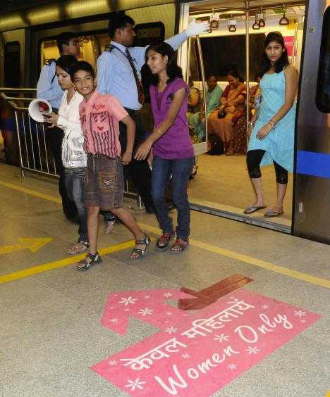 New Delhi India women-only subway cars