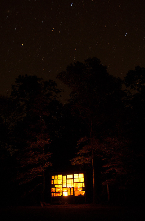 house glass night view