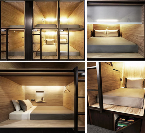 Pod in singapore high class hostel meets capsule hotel for Hostel room interior design ideas