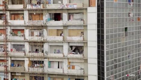 skyscraper slum