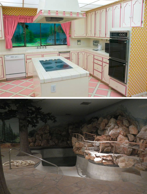 underground house kitchen pool
