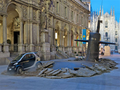 Interactive Urban Art Submarine Milan 1