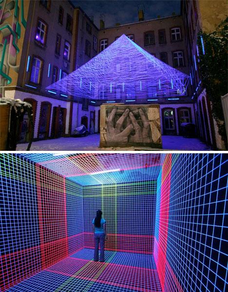 Interactive Urban Art UV Thread