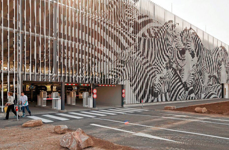 angled graffiti whole building