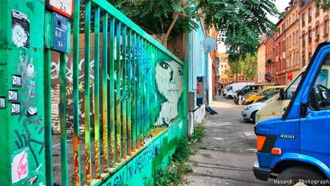 angled rail street art