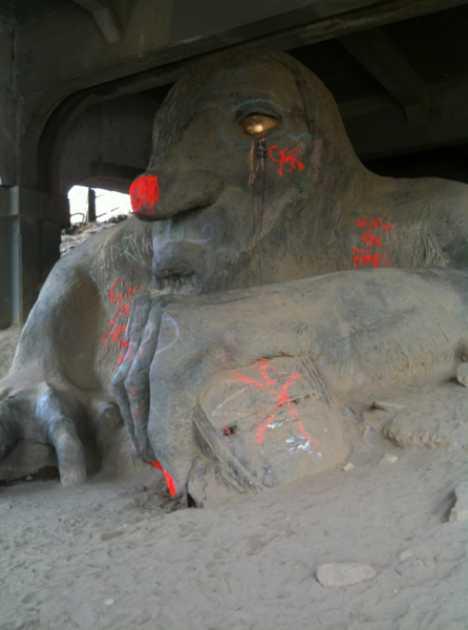 vandalized graffiti Fremont Troll