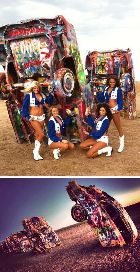 Cadillac Ranch Texas Dallas Cowboys Cheerleaders