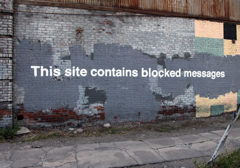 banksy blocked messages wall