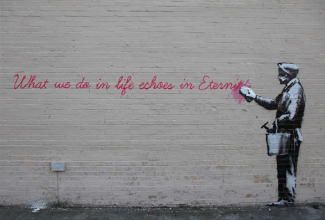 banksy profane quote lettering