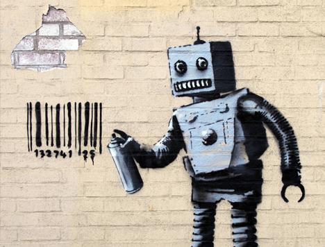 banksy robot bar code