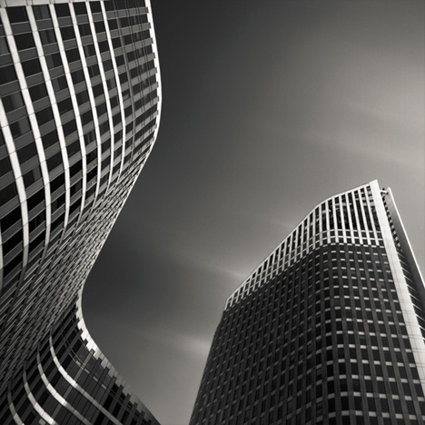 black white curved buildings