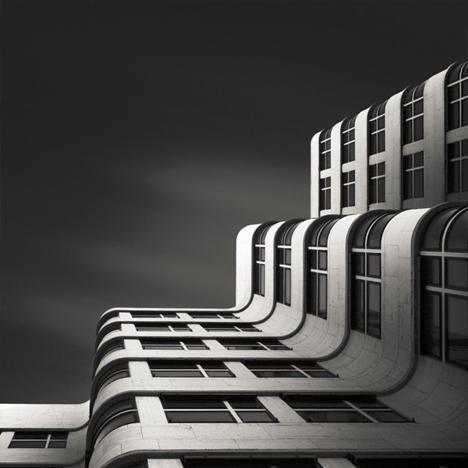 black white curved facade