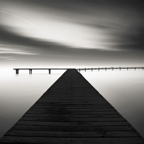 black white deck water