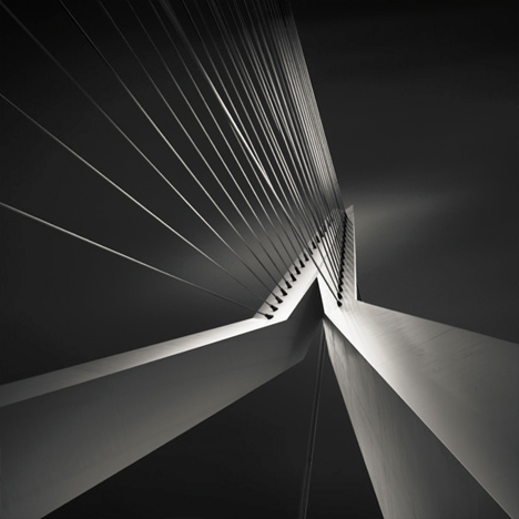 black white tension bridge