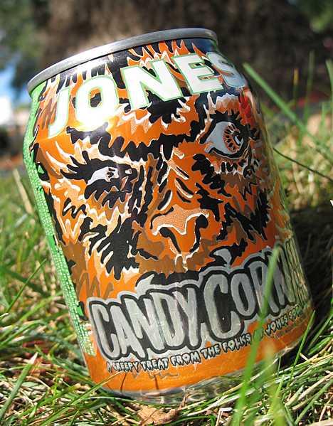 Jones Halloween candy corn soda can