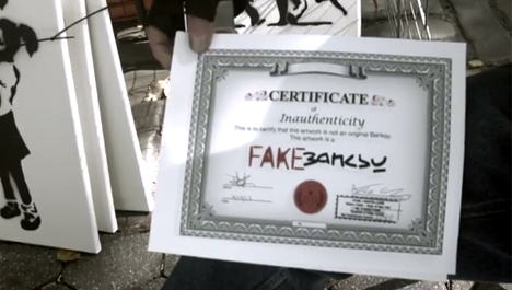 fake banksy inauthenticity certificate