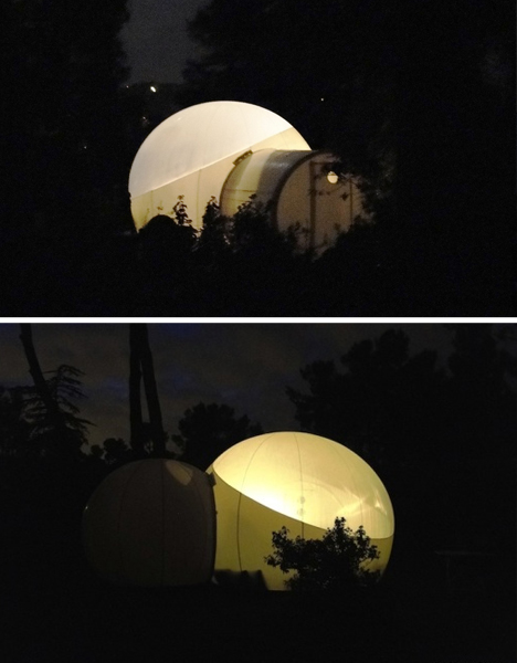 pod hotel at night