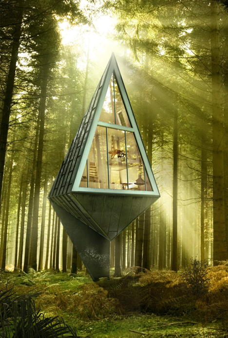 Rural urbanism forest community of one pole tree houses for Modern tree house designs