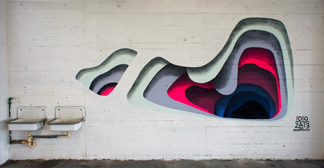 Shadowy secrets colorful layering creates trick 3d murals for Mural 3d simple
