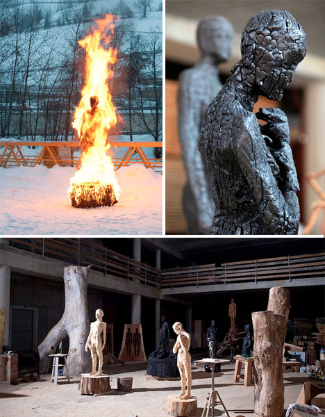 Fire Art Burned Sculptures Demetz