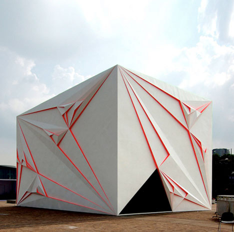 Origami inspired architecture 14 geometric structures for Architecture origami