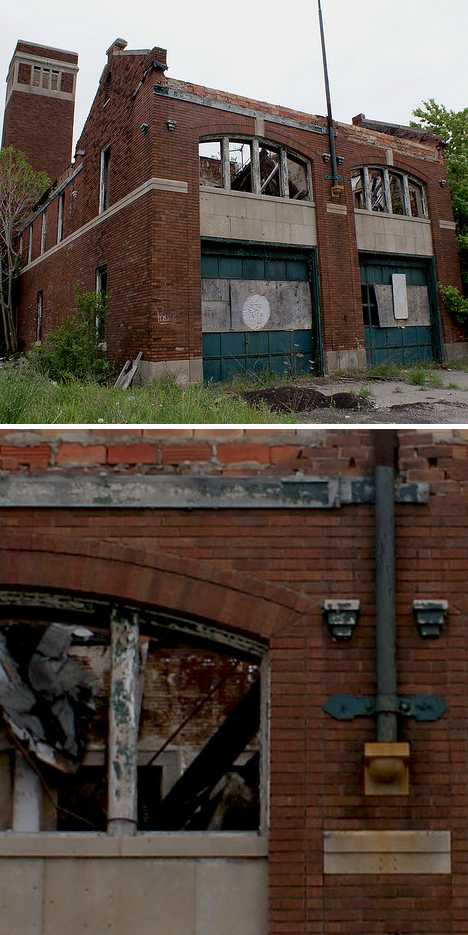 abandoned Highland Park Detroit fire station