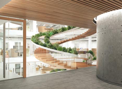 living staircase concrete floors