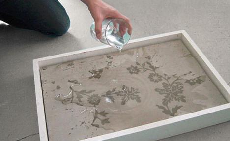 water activated concrete decor