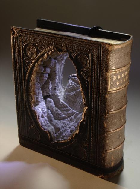 book art carved cavern