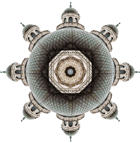 Architectural Kaleidoscopes: Buildings Spun Into Fractal Art